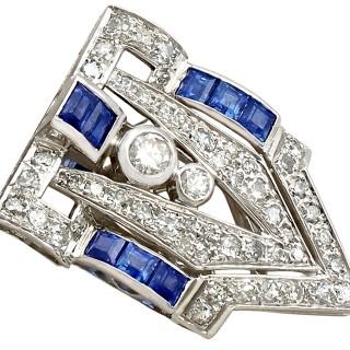 1.65ct Sapphire and 3.16ct Diamond, 18ct White Gold Double Clip Brooch - Antique Circa 1925