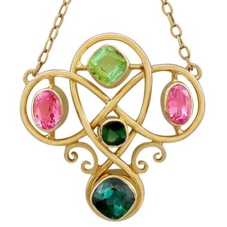 2.65ct Tourmaline and 0.95ct Peridot, 14ct Yellow Gold Necklace - Antique Victorian