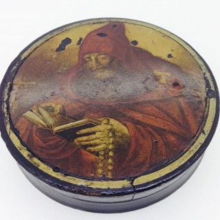 Antique Papier Mâché Russian Monk Snuff Box.
