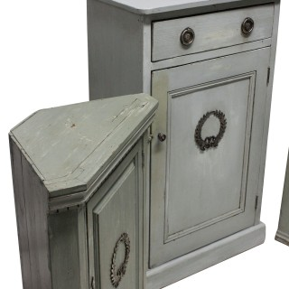 THREE SWEDISH PAINTED CUPBOARDS