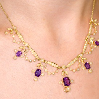 4.47ct Amethyst and Seed Pearl, 15ct Yellow Gold Necklace - Antique Edwardian
