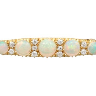 2.78ct Opal and 0.32ct Diamond, 15ct Yellow Gold Bar Brooch - Antique Victorian