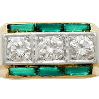 0.94ct Diamond and 0.55ct Tourmaline, 18ct Yellow Gold Dress Ring - Antique Circa 1925