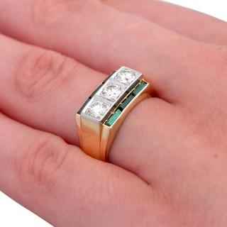 0.94ct Diamond and 0.55ct Tourmaline, 18ct Yellow Gold Dress Ring - Antique Circa 1925