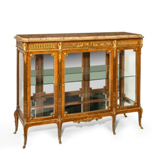 quality Napoleon III Kingwood marble topped breakfront display/side cabinet