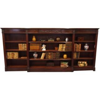 Adams Style Breakfront Open Bookcase
