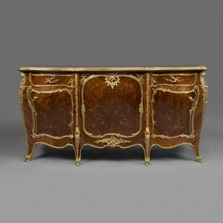 A Louis XV Style Gilt-Bronze Mounted Marquetry Inlaid Commode