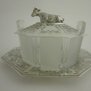 Antique Victorian Sterling silver butter dish
