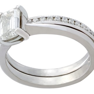 1.02ct Diamond and Platinum Solitaire and Half-Eternity Ring - Contemporary 2009