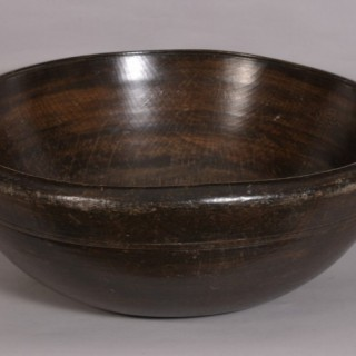 Antique Treen Very Large 18th Century Turned Ash Bowl
