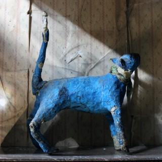 A 20thC Papier-mâché Blue Painted Model of a Cat c.1992