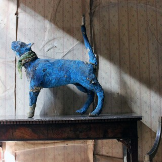 A 20thC Papier-mâché Blue Painted Model of a Cat c.1992