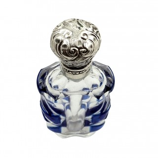 Antique Silver & Blue Overlay Cut Glass Perfume / Scent Bottle