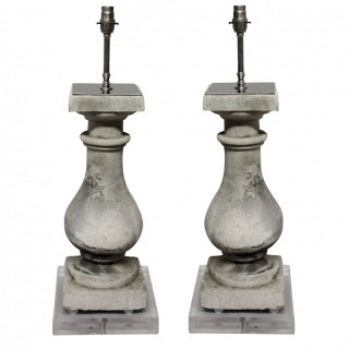 A PAIR OF STONE BALUSTRADE LAMPS