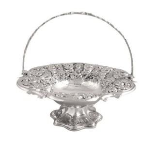 Antique Victorian Sterling Silver Cake / Bread Basket 1898