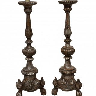 A PAIR OF ITALIAN 18TH CENTURY SILVER LEAF LAMPS
