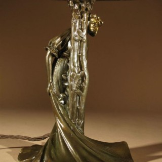 An Original Art Nouveau Period Amusing Table Lamp, Continental Germany/Austria Circa 1900.