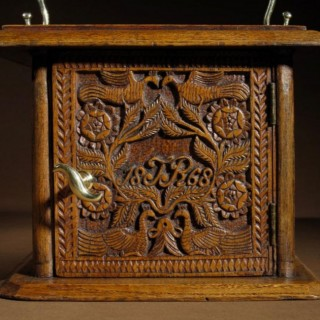 A Dated Dutch Frisian Fine Chip Carved Oak Foot Stoof. Dated: 1868
