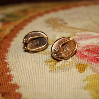 9ct Yellow Gold Clip-On Tigers Eye Earrings, Circa 1950