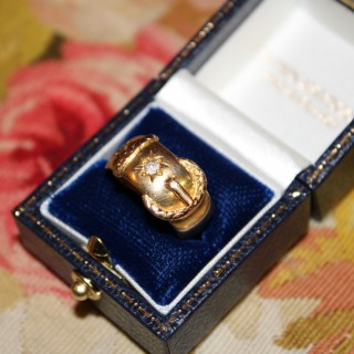18ct Yellow Gold Buckle Ring set with two Old Cut Diamonds, English 1901