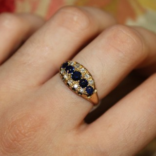 18ct Yellow Gold Sapphire and Diamond Ring, English circa 1890