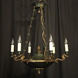 French Gilded Bronze Empire 6 Light Chandelier