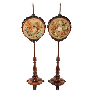 Pair of William IV Rosewood Pole Screens