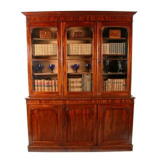 Victorian Mahogany Three Door Bookcase