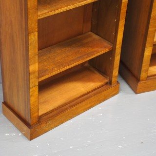 Pair of Victorian Style Burr Walnut Open Bookcases
