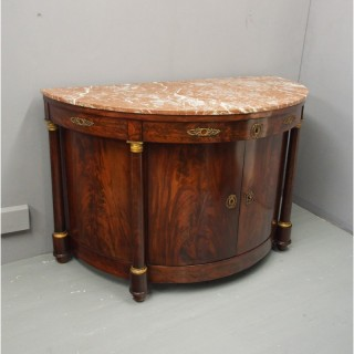 French Empire Mahogany and Marble Side Cabinet