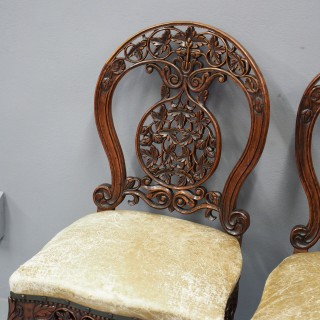 Rare Pair of Anglo-Indian Hardwood Side Chairs