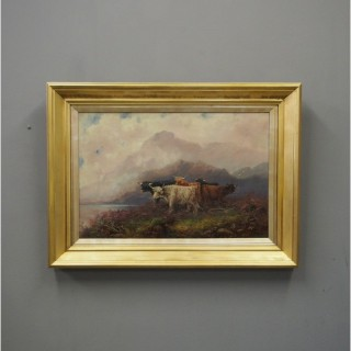 Oil Painting of a Scottish Highland Scene by F Walter