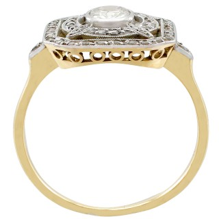 1.01ct Diamond and 18ct Yellow Gold, Platinum Set Dress Ring - Antique Circa 1910