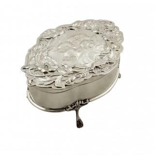 Antique Edwardian Sterling Silver 'Angels' Trinket Box 1902