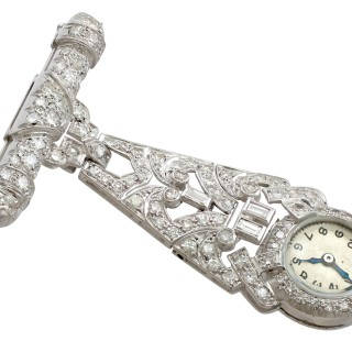 2.04ct Diamond and Platinum Ladies Fob Watch - Art Deco - Vintage Circa 1940