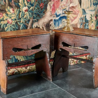 Henry VIII oak boarded stools