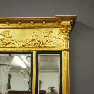 Regency Giltwood and Gesso Overmantel Mirror