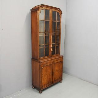 George I Style Walnut Cabinet Bookcase