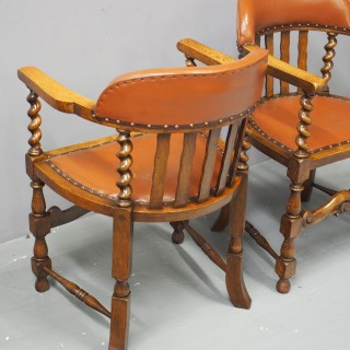 Pair of Oak and Leather Captains Chairs