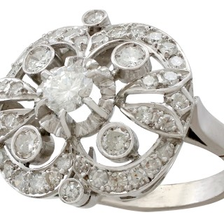 1.68ct Diamond and 15ct White Gold Cluster Ring - Antique Circa 1930