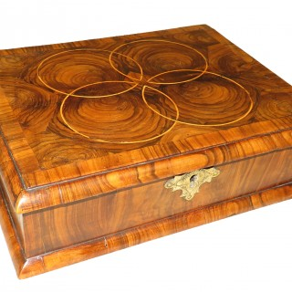Queen Anne Laburnum Oyster Veneered Antique Glove Box