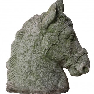 Pair Of Reclaimed Weathered Stone Horses Heads