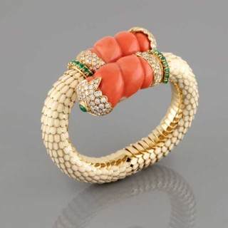 Gold, diamond, emerald, coral and enamel bracelet.