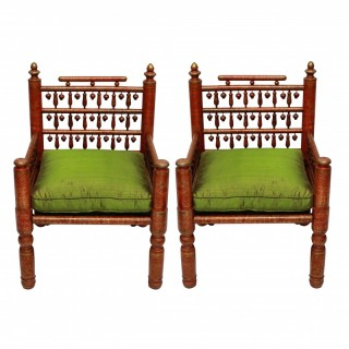 A PAIR OF RED LACQUERED PUNJABI CHAIRS