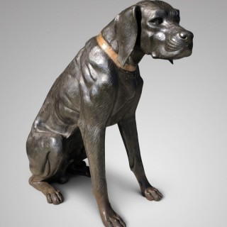 PAIR OF LIFE SIZED BRONZE HOUNDS