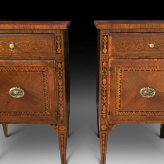 A PAIR OF LATE 18TH CENTURY MARQUETRY COMMODINI