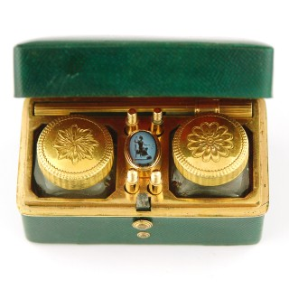 Shagreen and copper gilt traveling inkwell