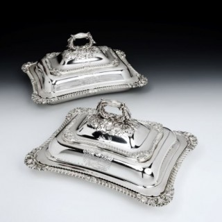 A fine and exceptionally heavy pair of late George III Entree Dishes