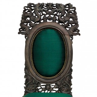 A 19TH CENTURY CHINESE CHAIR IN EMERALD SILK