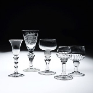 A 4 Knop Wine Glass, a 'Royalist' Goblet, and 3 Mead Coin Glasses.